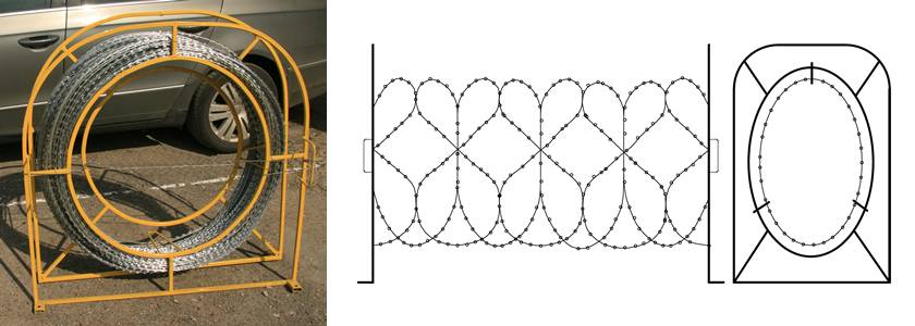 Mobile spiral razor wire barrier with yellow steel frame